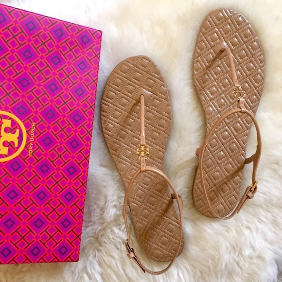 b91622272d94f Tory Burch Marion Quilted Sand Leather Sandals